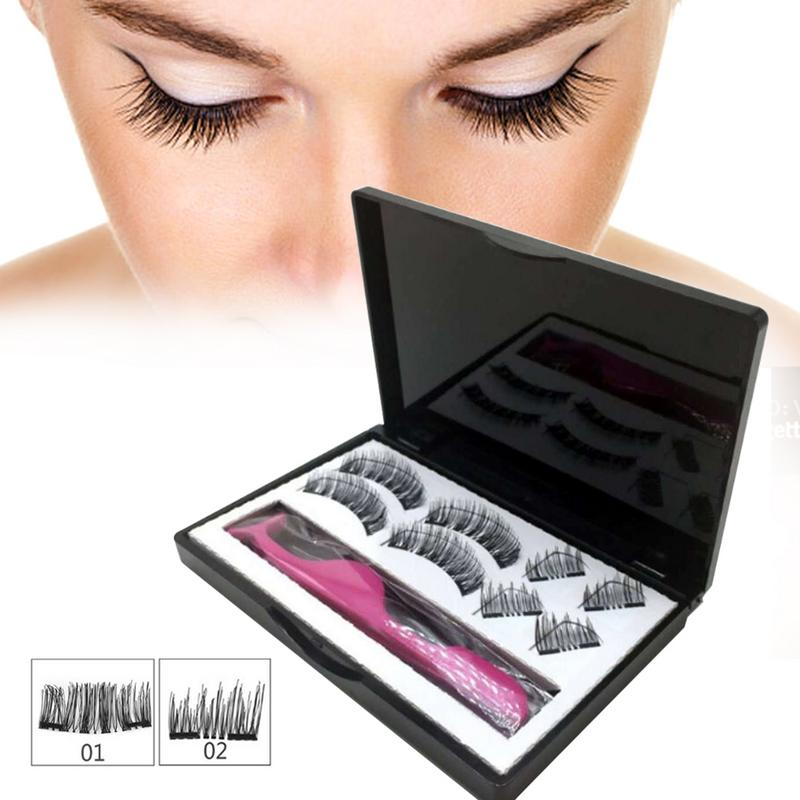8pcs Magnetic Eyelashes With 3 Magnets Handmade 3D Magnetic Lashes Natural False Eyelashes Magnet Lashes With Gift Box Faux Cils