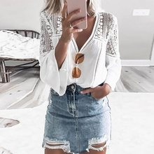 Vintacy Lace Blouse Women Boho Top Blouses 2019 White Shirt Summer Sexy V Neck Flare Long Sleeve Tops Fashion Hollow Out Casual