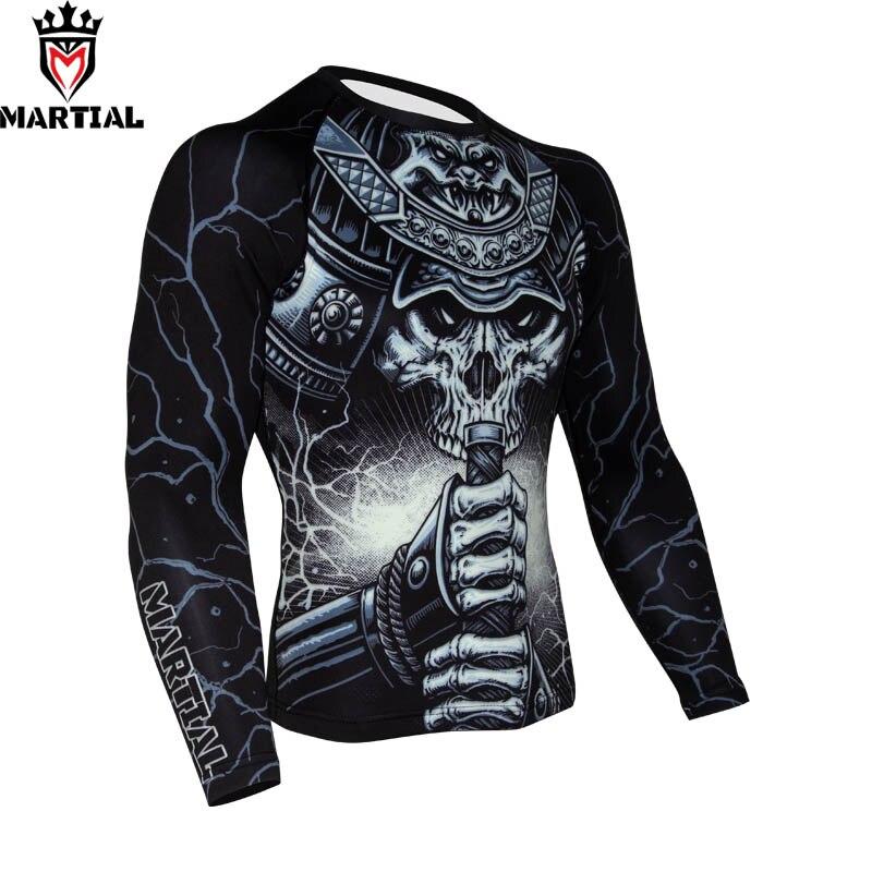 Martial: WARRIOR BJJ Rashguard Sublimation Printed Mma Compression Jersey Crossfit Training Shirts Boxing Shirts