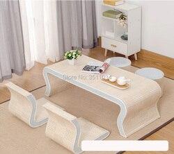 Novo japonês moderno e coreano tatami bambu e rattan tecelagem mini-janela flutuante, baixo terraço mesa, mesa de chá