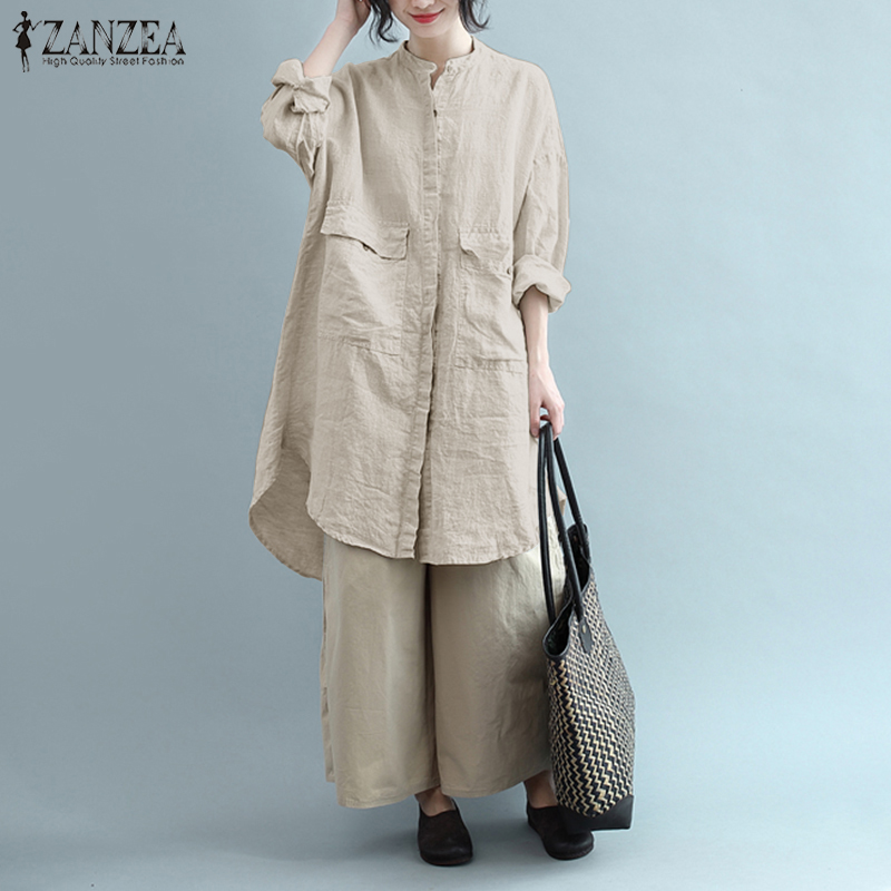 ZANZEA Women Vintage Cotton Linen Blouse Autumn Long Sleeve Pockets Solid Loose Long Shirt Vestido Robe Blusa Work Top Plus Size