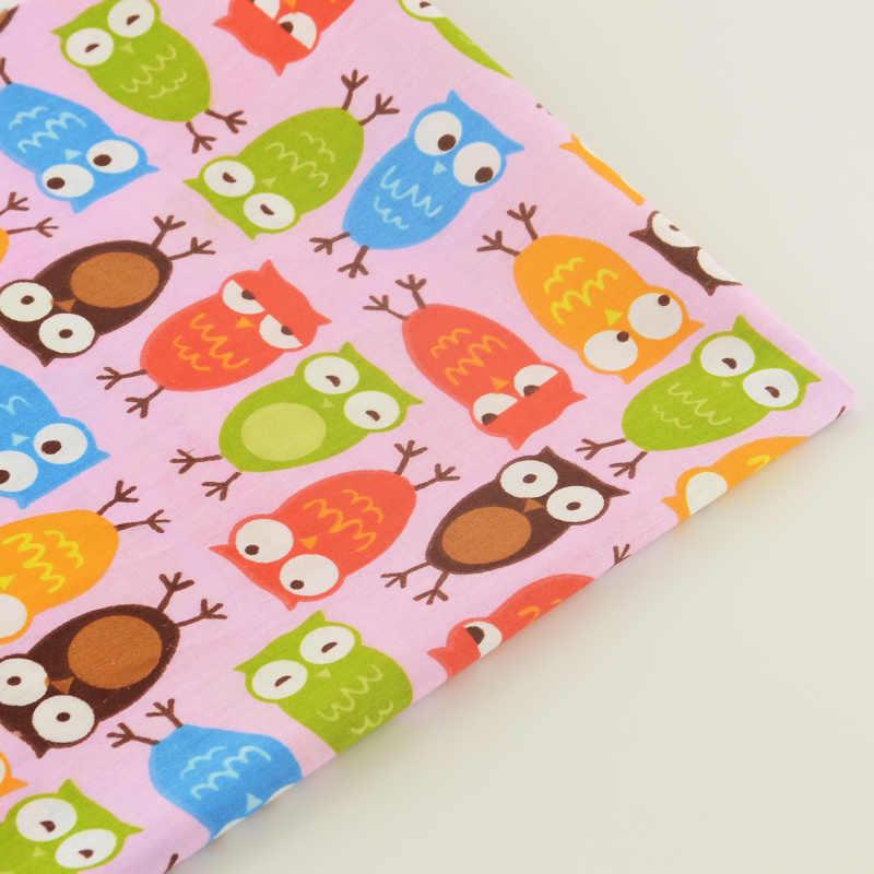 Diseños de búhos de colores, 100% de tela de algodón rosa, muñecas de sarga, textiles para el hogar, tela de retazos, tela de retazos, ropa de cama, álbumes de recortes, Telas