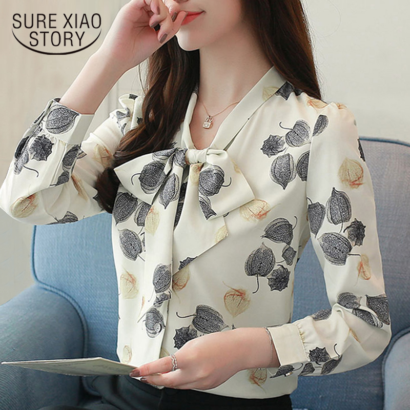 2018 New Arrived Women Blouse OL Style Bow Tie Shirt In Autumn Fashion Stand Collar Women Top Long Sleeved Slim Fit Blusa1059 40