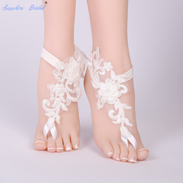 fc472511c Sapphire Bridal Free Shipping 1 Pair Wedding Barefoot Sandals Beach Wear  Anklet Bridal Gloves Foot Lace