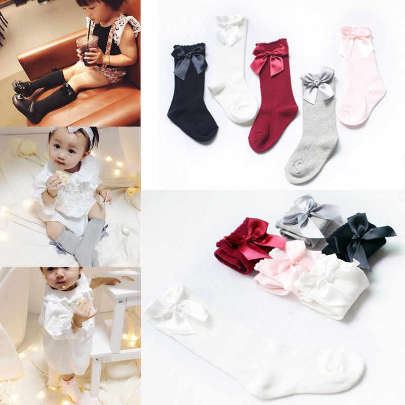 Infant Baby Girls Knee High Socks Cotton Bowknot Ribbon Cotton Autumn Winter Socks Solid Pink Red White Gray Black