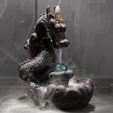 Quemadores de incienso de dragón, Fondo de humo de cerámica, decoración creativa para el hogar, adorno de Teahouse, soporte de incienso con bola de cristal