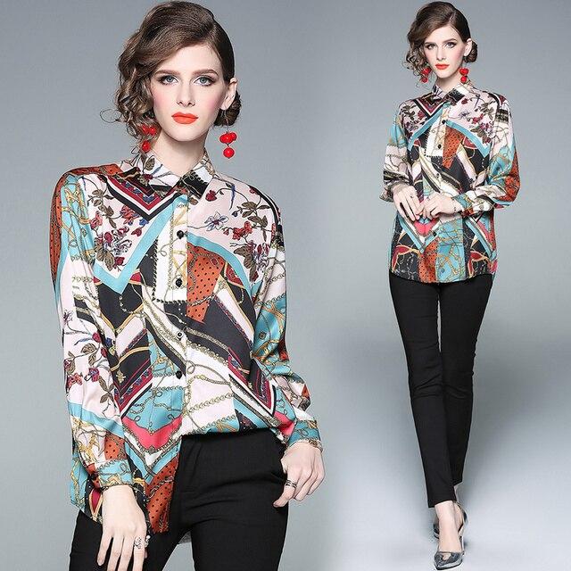 83374c16c5 Europy kobiet kolor bloku Runway bluzka 2019 moda z długim rękawem skręcić  w dół kołnierz wiosna topy projektant koszule