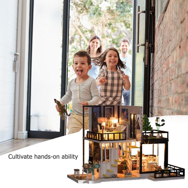 Assemblage bâtiment modèle jouet maison de poupée en bois maison de poupée miniature à monter soi-même Kit de meubles artisanat cadeau d'anniversaire pour 3 + Y enfants - 4
