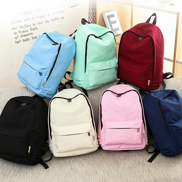 Canvas Pure Color Zipper Backpack