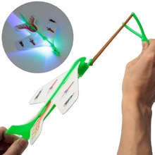 LED Light Plane Helicopter Rotating Flying Fun Kids Outdoor Party Flashing Funny Light-Up Toys DIY Model Arrow Rocket Toy