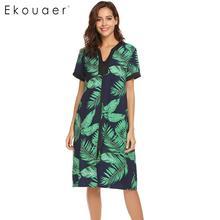 Ekouaer Vrouwen Sleepshirts Nachtjapon V hals Korte Mouw Bloemen Rits Nachtkleding Nachthemd Vrouwelijke Chemise Nachtkleding Jurk