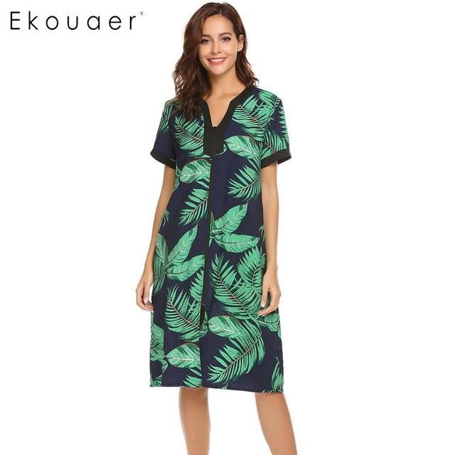 Ekouaer femmes chemises de nuit Chemise de nuit col en v à manches courtes Floral avant fermeture à glissière vêtements de nuit Chemise de nuit femme robe de nuit