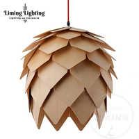 Retro nordic pinecone led pingente lâmpadas de madeira moderna diy iq elementos puzzle quarto arte lamparas luminárias madeira