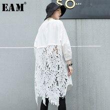 [EAM] Новинка, осенне-зимняя кружевная рубашка с воротником-стойкой и длинным рукавом на спине, женская блуза большого размера, модная блуза JR835