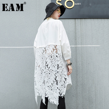 [EAM]2019 New Autumn Winter Stand Collar Long Sleeve Back Lace Hollow Out Spliced Big Size Shirt Women Blouse Fashion Tide JR835 plus size long sleeve lace spliced crochet blouse