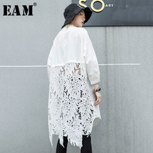 [EAM]2019 New Autumn Winter Stand Collar Long Sleeve Back Lace Hollow Out Spliced Big Size Shirt Women Blouse Fashion Tide JR835(China)