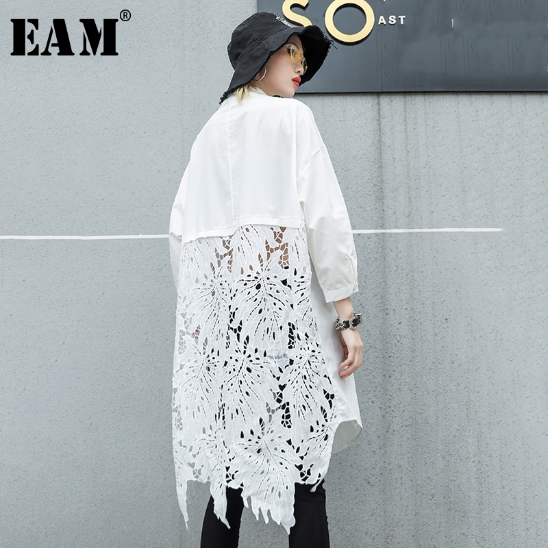 [EAM]2020 New Autumn Winter Stand Collar Long Sleeve Back Lace Hollow Out Spliced Big Size Shirt Women Blouse Fashion Tide JR835