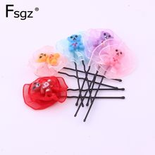 5 PIECES Fashion Charms Hairpin For Girl Wire Clip With Chiffon Flower Beautiful Small Plant Hair Clips Cute Baby Hairgrip 6 CM(China)