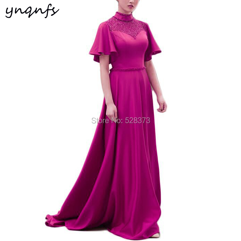 YNQNFS Crystal Dress Satin High Neck Flare Sleeves Vestido De Festa Longo Party Gown Fuchsia Mother Of The Bride Dresses M46