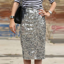 Fashion Sexy Women Sequins hip-wrapped knee length skirt Charming hot girls club Party harajuku Silver Color Pencil Skirt  S-XL