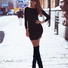 Женское облегающее Бандажное платье с длинным рукавом, новинка, женская одежда, сексуальное короткое мини-платье, женские однотонные топы, пуловер