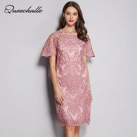 L 5XL Plus Size Lace Dress Pink 2019 Summer Short Sleeve Hollow Out Vintage Embroidery Midi Dress Women Elegant Party Dresses