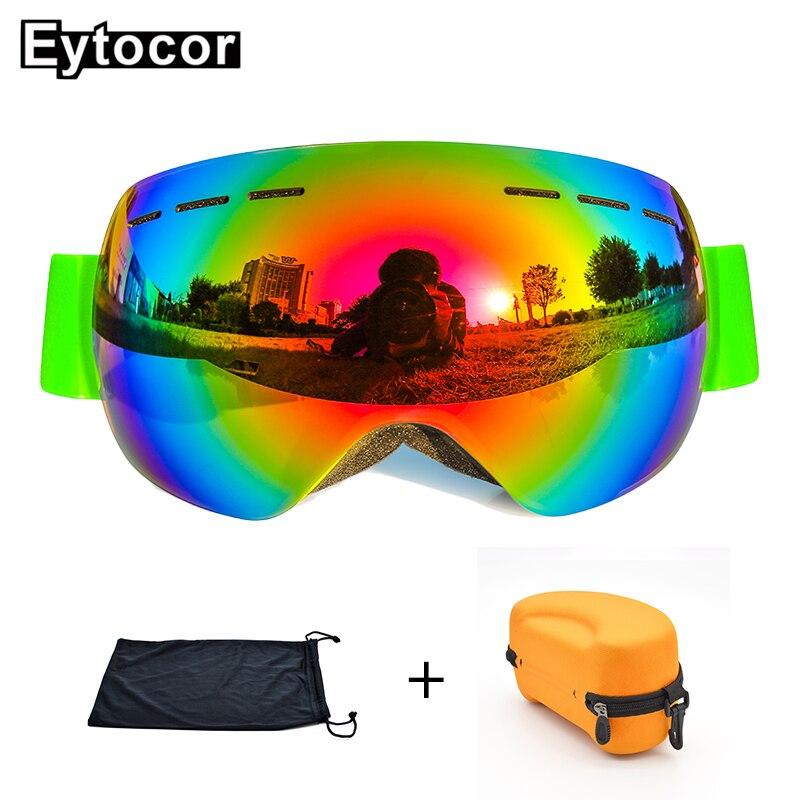 EYTOCOR Top Vente UV400 cagoule Lunettes avec Magnétique Rapide-changement 2 dans 1 Lentille Anti-brouillard Ski Motoneige lunettes masque anti neige - 3