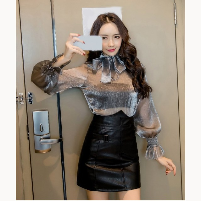 c8fb788c3a 3 Piece Fashion Women Office Work Set Sexy Ruffle Bow Mesh Shirt PU Leather  Skirt Set Lantern Sleeve Mini Skirt Set