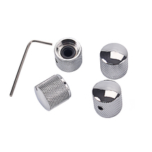 GD123A Metal Dome Tone Tunning Knob with Hexagon Screws Lock Volume Control Buttons for Electric Guitar Bass Chrome