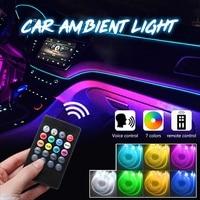 Car Interior Ambient Light Car RGB Fiber Optic LED Door Light Decorative Atmosphere Lamps Voice/Remote Control 12V