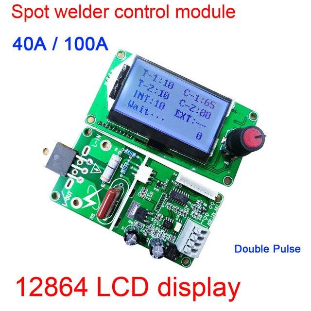 100A/40A lcd display Digital Double Pulse Encoder Spot Welder Welding Machine Transformer Controller Board Time Control