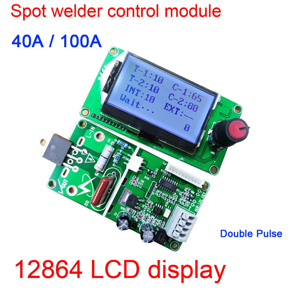 Digital LCD Double Dual Pulse Encoder Spot Welder Welding Machine Time Control Weld Module Board 40A//100A Electronic Controller 40A