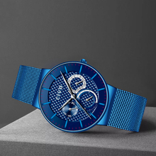 CIVO Blue Military Sport Watch Mens Waterproof Chronograph Date For Men Stainless Steel Mesh Gents Relogio Masculino