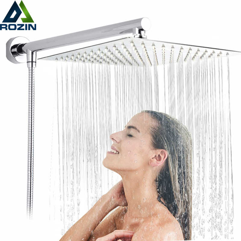 "Bright Chrome 8"" Ultrathin Shower Head + Brass 15"" Shower Arm + 59"" Stainless Steel Hose Wall Mounted Rainfall Showerhead"
