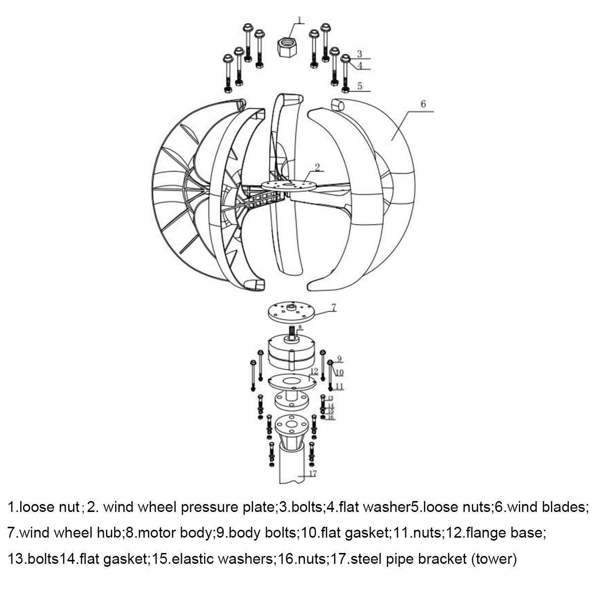 100 w/200 w/300 w/600 W 12 24V axe Vertical éolienne générateur VAWT bateau jardin avec contrôleur usage résidentiel à la maison - 6
