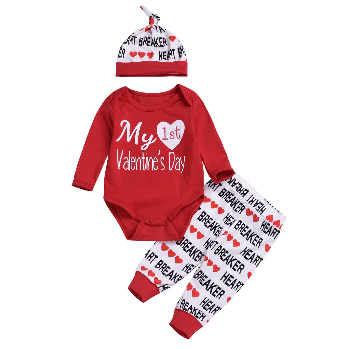 e412383f1af9 My 1st Valentine Lovely Baby Boys Girls 3pcs Clothes Sets Cute Letter Heat  Print Newborn Toddler