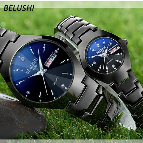 Lovers Watches Luxury Quartz Wrist Watch for Men and Women Belushi Dual Calender Week Steel Couple Watches Relogios Masculino Multan