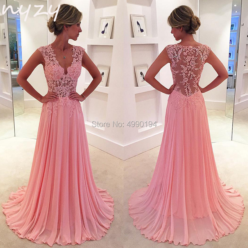 NYZY P8 Prom Dresses Long 2019 V Neck Sheer Low Back Chiffon Lace Pink Formal Dress Women Elegant Vestido De Festa Longo