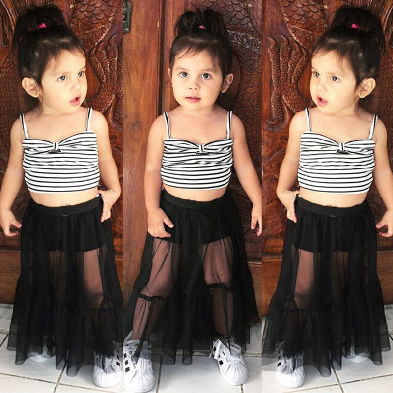 UK Toddler Kids Baby Girl Lace Crop Tops Striped Trousers Pants Outfits Sunsuit