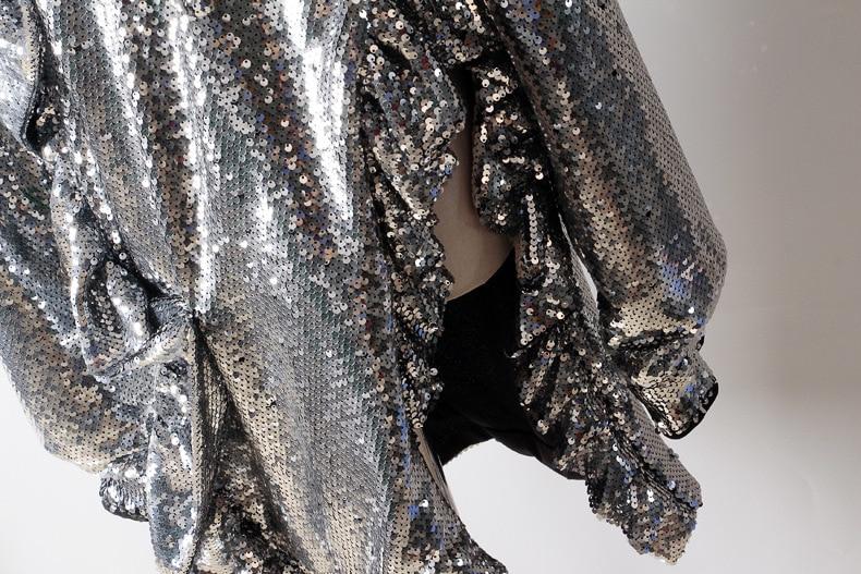 Collo Paillettes Split Marea Donne Sexy Modo Bordo Silver Delle Jk820 Vestito Primavera Alto Irregolare Lunghe Inverno 2019 Nuovo Maniche eam A Color Joint Di qIpPx