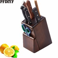 New Natural Rubber Wood Knife Holder Organizer Multi function Storage knife Rack Solid Wood Knife Block Kitchen Accessories