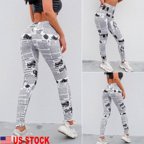 US Women Sport Pants High Waist Letter Newspaper Print Fitness   Legging   Running Gym Stretch Elastic Trouser
