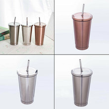 500ML Stainless Steel Cup Portable Travel Tumbler Coffee Mug With Drinking Straw цена