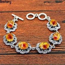 Овальный резиновый браслет с цветочным узором Винтаж Посмотрите Античная Посеребренная Модные украшения для женщин TB346