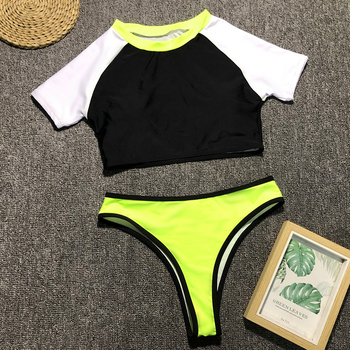 In-X Short sleeve bikini 2019 Sports swimwear women crop top Push up swimsuit female bathers High neck bathing suit Beach wear 3