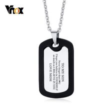 Vnox To My Son Courage Is Not The Basence Love Mom Dad Dog Tag Pendants Necklaces Family Love Accessories(China)