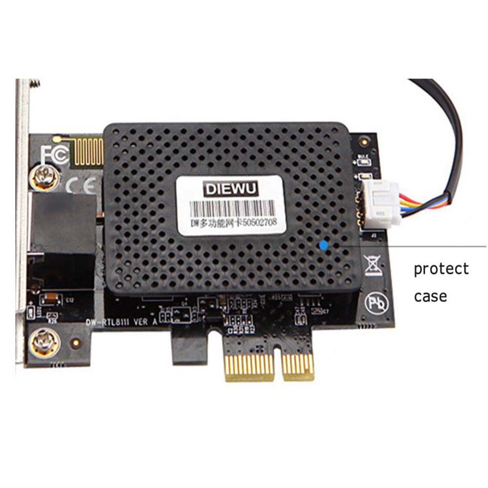 Multifunction 10/100/1000 Mbps PCI-E PCI Express Computer PC Desktop Power On/off Switch 2 In 1