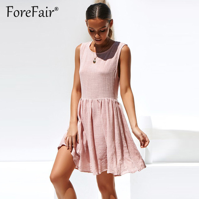 f4399c06287 Forefair Ladies Solid Casual Dress Summer 2019 Women Tank Shift Dresses  Round Neck Sleeveless High Waist
