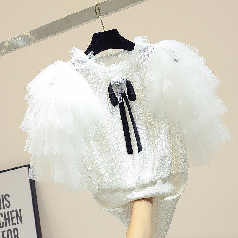 Maille patchwork tricoté blanc t-shirt femmes slim manches bouffantes t-shirt 2019 printemps et été hauts diamants arc t-shirt femme