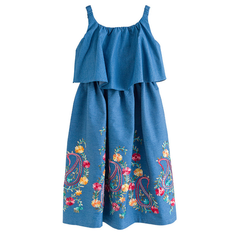 6 to <font><b>16</b></font> years kids & <font><b>teens</b></font> <font><b>girls</b></font> summer jeans embroidery floral print ruffles sleeveless dress kids fashion casual dresses image